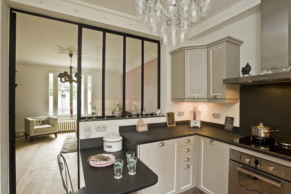 Cuisine Moderne Blanche Et Noire : Esprit cottage