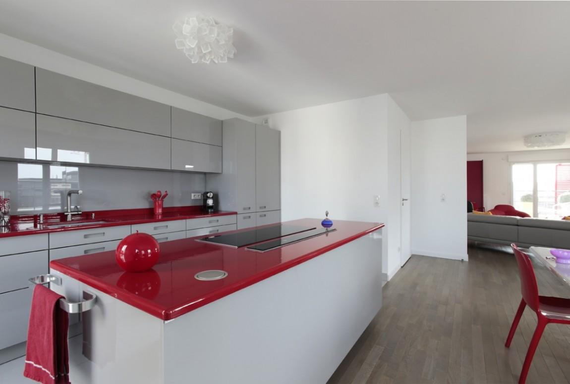 Rideau Gris Perle Ikea cuisine bicolore