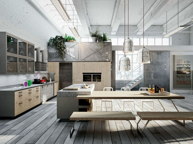 ambiance loft dans la cuisine. Black Bedroom Furniture Sets. Home Design Ideas