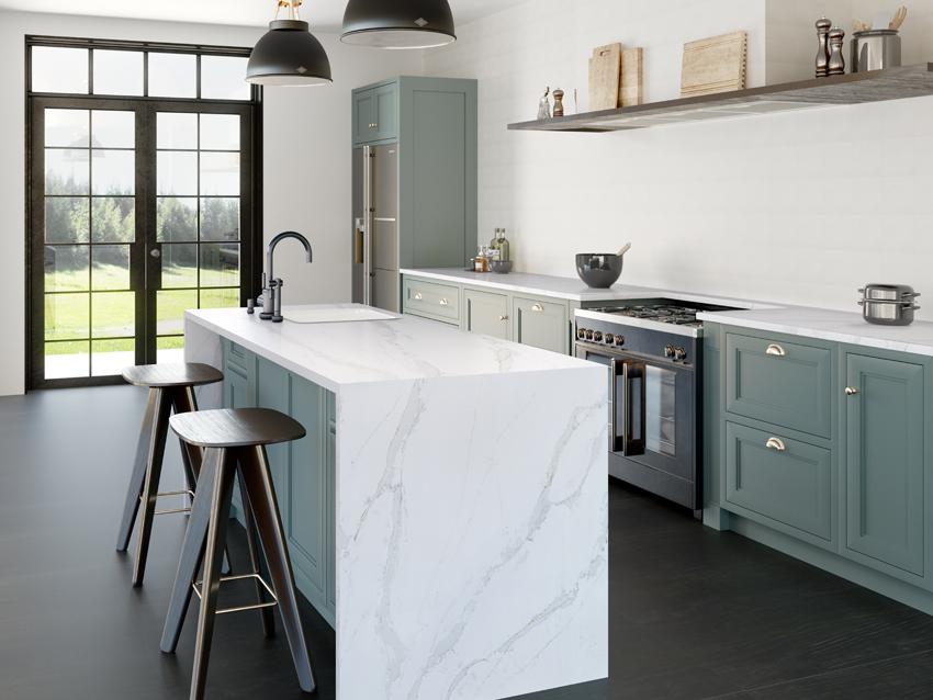 cuisine blanche bleu vert design