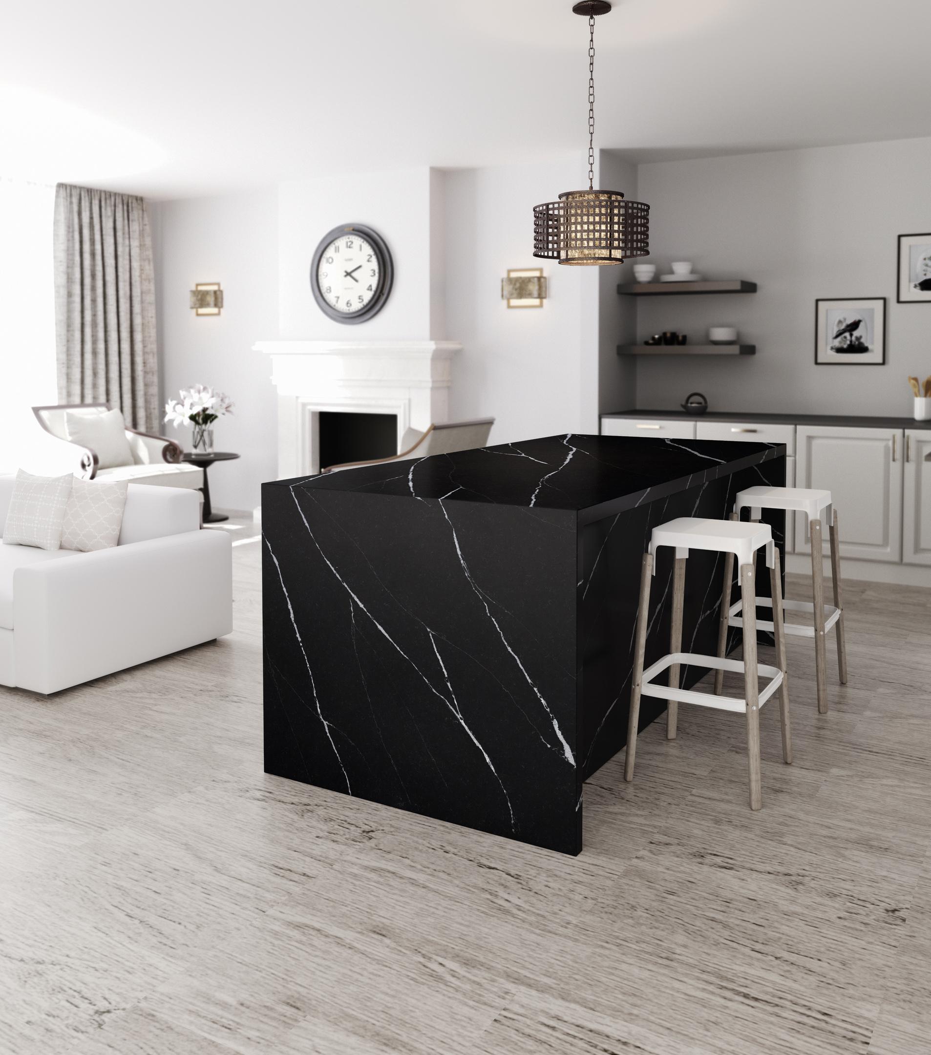 salon cuisine blanc ilot centrale noir