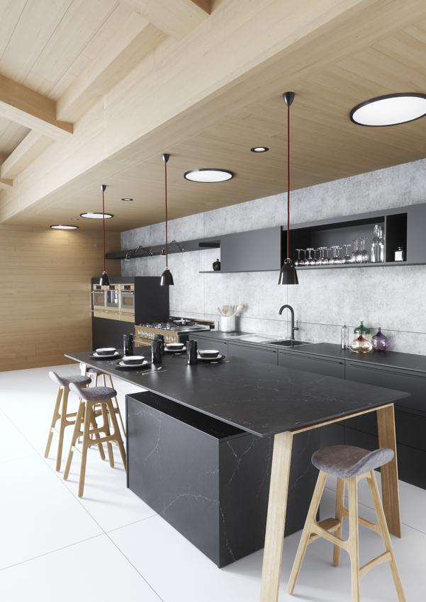 cuisine noir bois ilot central