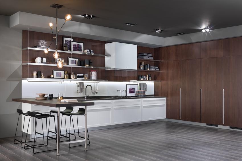 cuisine blanc et bois foncé