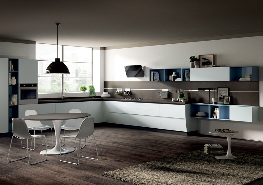 Grande cuisine blanche bois design